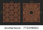 laser cutting set. woodcut...   Shutterstock .eps vector #773298001