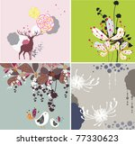 natural textures with birds | Shutterstock .eps vector #77330623