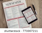 newspaper with digital tablet... | Shutterstock . vector #773307211