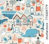 doodle illustration. north sea....   Shutterstock . vector #773309779