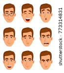 face expressions of a brown... | Shutterstock .eps vector #773314831