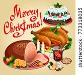 christmas dinner  traditional...   Shutterstock .eps vector #773318035