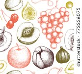 vintage fruits and berries...   Shutterstock .eps vector #773326075