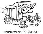 dump tipper truck lorry dumper... | Shutterstock . vector #773333737