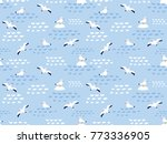 seamless pattern of nautical... | Shutterstock .eps vector #773336905