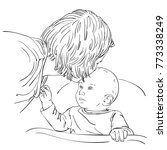 sketch of mother tenderly with