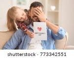 cute little girl greeting her... | Shutterstock . vector #773342551