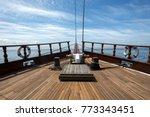 wooden boat with teak deck | Shutterstock . vector #773343451