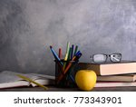 group of school supplies and... | Shutterstock . vector #773343901