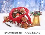 retro style toys as christmas... | Shutterstock . vector #773353147