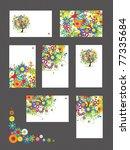 Set Of Business Cards  Floral...