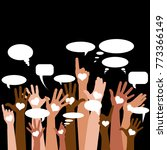 group of raising hands with... | Shutterstock .eps vector #773366149