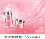 pink collagen vitamin skin care ... | Shutterstock .eps vector #773366371