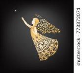 christmas angel in ornate dress ... | Shutterstock .eps vector #773372071
