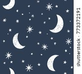 seamless pattern with moon and... | Shutterstock .eps vector #773372191