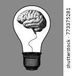 brain inside the light bulb... | Shutterstock .eps vector #773375281