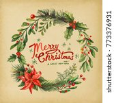 holiday greeting cards  retro... | Shutterstock .eps vector #773376931