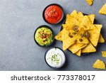 Nachos Chips On A Plate With...