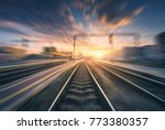 railway station with motion... | Shutterstock . vector #773380357