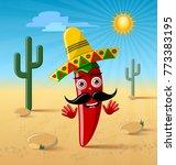red chilli pepper character...   Shutterstock .eps vector #773383195