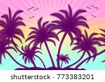 tropical palm trees with birds  ... | Shutterstock .eps vector #773383201