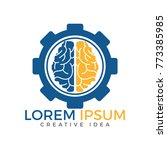 brain and gear cog logo design. ... | Shutterstock .eps vector #773385985