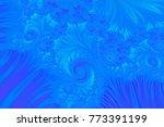 blue embossed fractal pattern ... | Shutterstock . vector #773391199