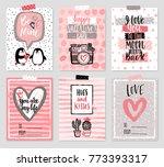 valentine s day card set   hand ... | Shutterstock .eps vector #773393317