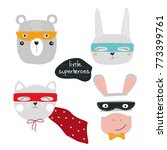 Stock vector set of cute animal superheroes perfect for kids print vector hand drawn illustration 773399761