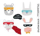 set of cute animal superheroes. ... | Shutterstock .eps vector #773399761