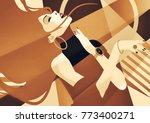 fashion girl in style pop art...   Shutterstock . vector #773400271