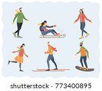 people in winter outdoor... | Shutterstock .eps vector #773400895