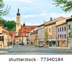 old gothic house and church in... | Shutterstock . vector #77340184