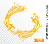 orange water   juice splash... | Shutterstock .eps vector #773402239
