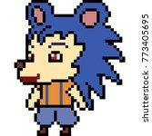 Vector Pixel Art Porcupine Kid...