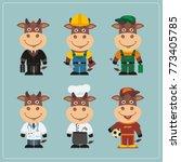 set of bull in different...   Shutterstock .eps vector #773405785