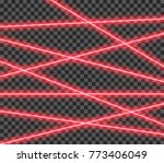 abstract red laser beams.... | Shutterstock .eps vector #773406049