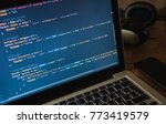 php code on laptop's display... | Shutterstock . vector #773419579