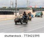 a biker with a dog. st.... | Shutterstock . vector #773421595