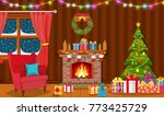 christmas interior of the... | Shutterstock .eps vector #773425729