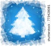 frozen christmas tree on a blue ... | Shutterstock .eps vector #773428081