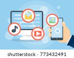downloading files concept.... | Shutterstock . vector #773432491