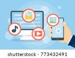 downloading files concept.... | Shutterstock . vector #773432491