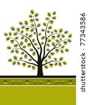 vector oak tree background | Shutterstock .eps vector #77343586