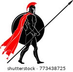spartan warrior walking | Shutterstock .eps vector #773438725