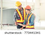 engineer or architect working... | Shutterstock . vector #773441341