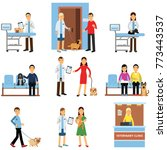 veterinary clinic set  people... | Shutterstock .eps vector #773443537