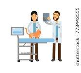 two veterinary doctors... | Shutterstock .eps vector #773443555