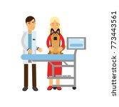 veterinary doctor examining... | Shutterstock .eps vector #773443561