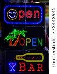 led light sign open welcome... | Shutterstock . vector #773443945